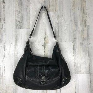 The Sak pink label black leather shoulder bag